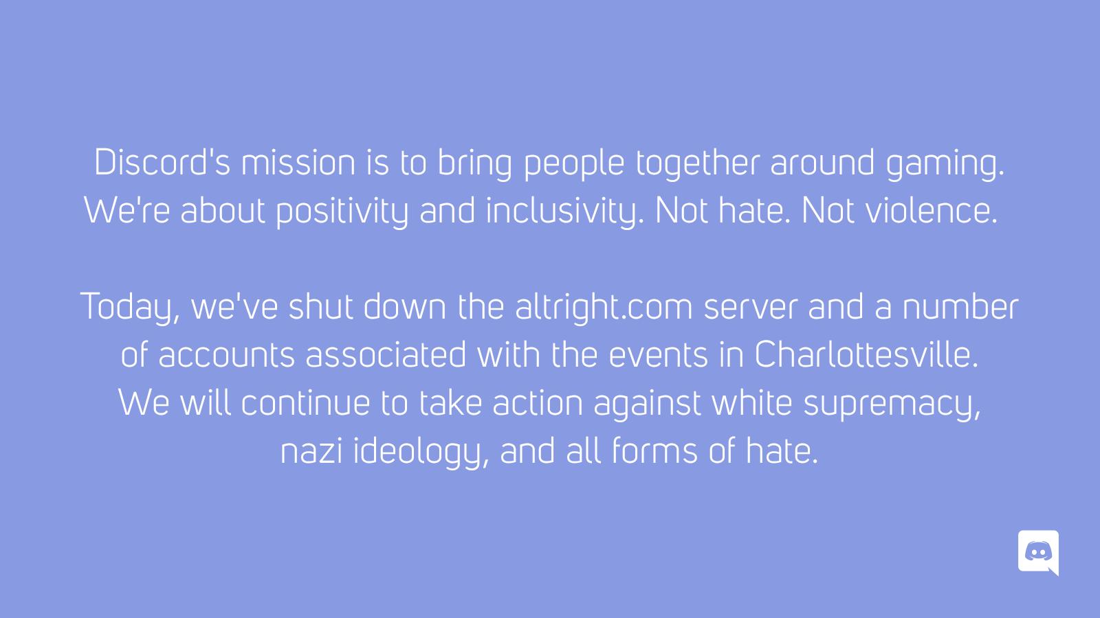 Discord står opp mot hat.