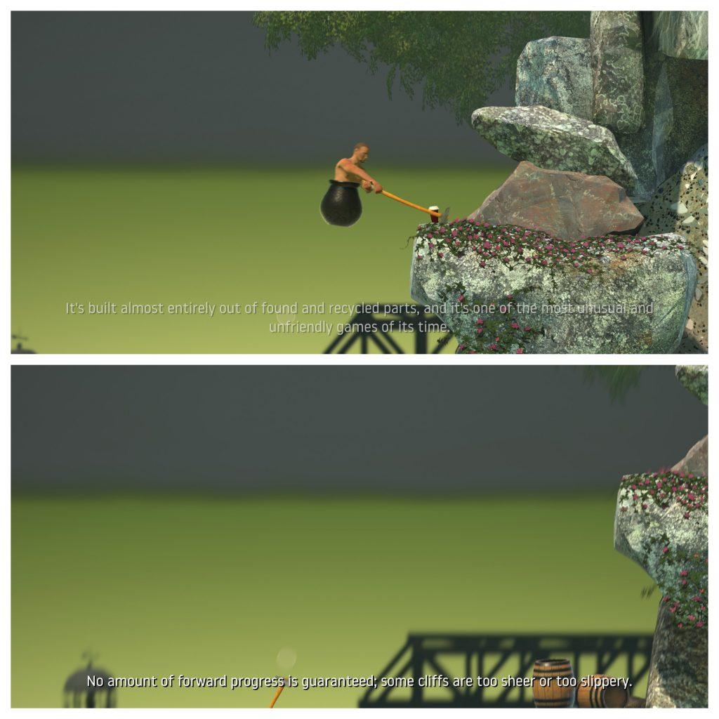 Hovedpersonen balanserer på en fysisk umulig måte ved å plassere sleggen sin på en kant og løfte seg rett opp.  I andre halvdel av bildet kan vi kun se sleggen mens hovedpersonen har blitt slengt vekk.