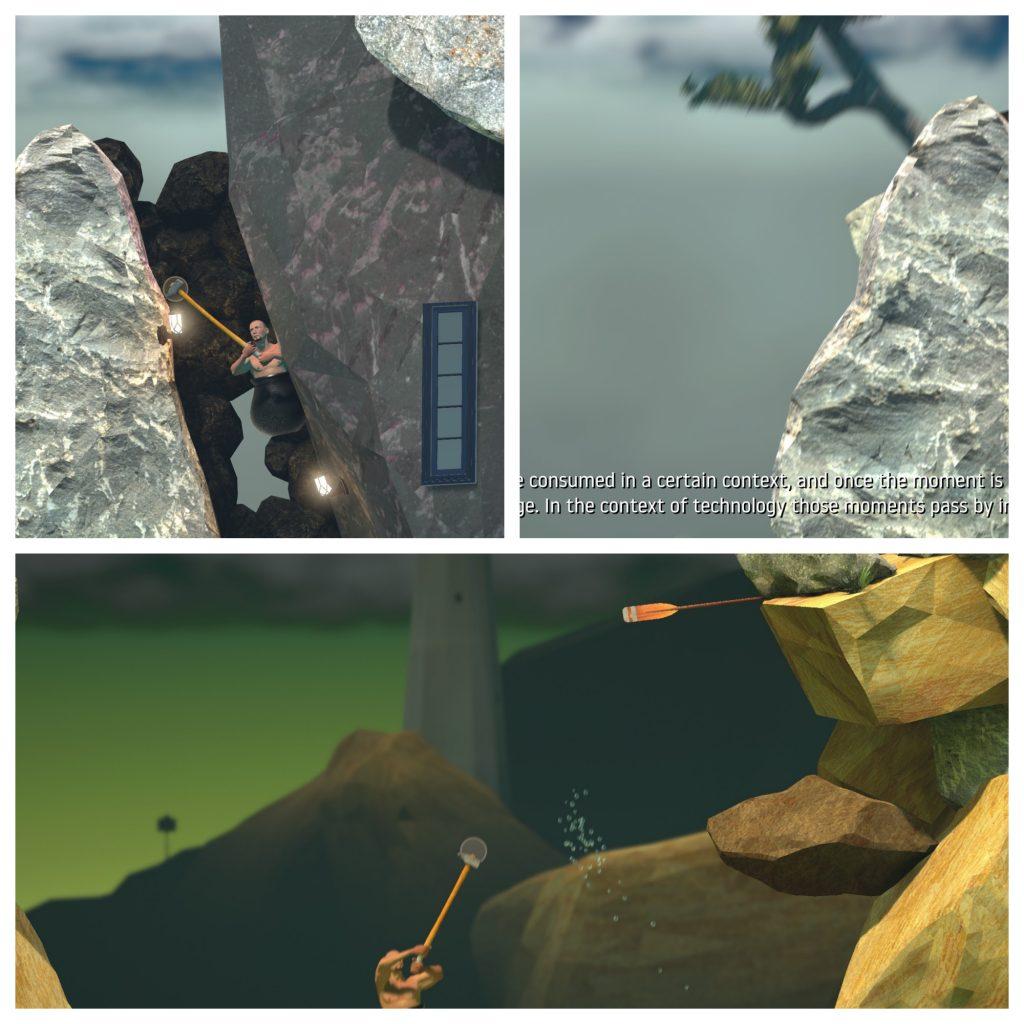 Tre bilder, med klokken:  1: Hovedpersonen drar seg opp en steinkorridor etter en lampe som for en eller annen grunn er plassert der.  2: Yttersiden av korridoren vises, bildet er uskarpt for å illustrere bevegelse, hovedpersonen har falt ned.  3: Hovedpersonen står på bakken ner starten av spillet.