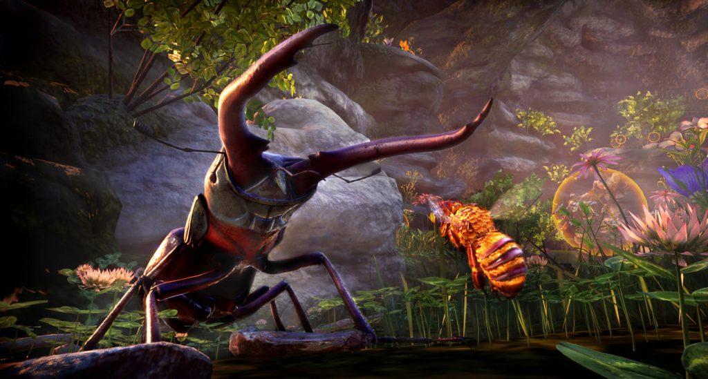 En stor bille står foran en liten bie