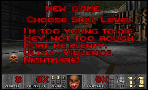 Vanskelighetsgradene i spillet Doom II til PC fra 1994.